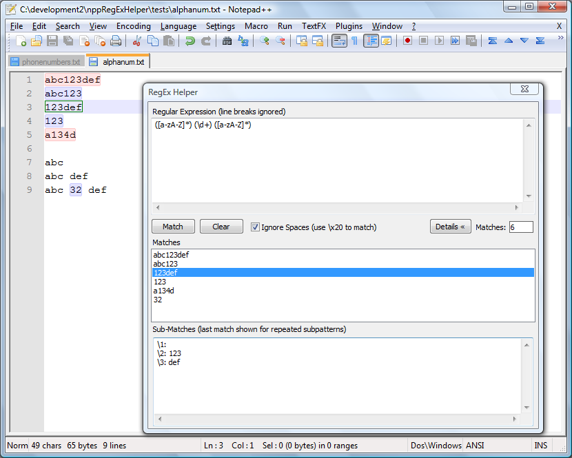 RegEx Helper - Notepad++ plugin for testing and editing